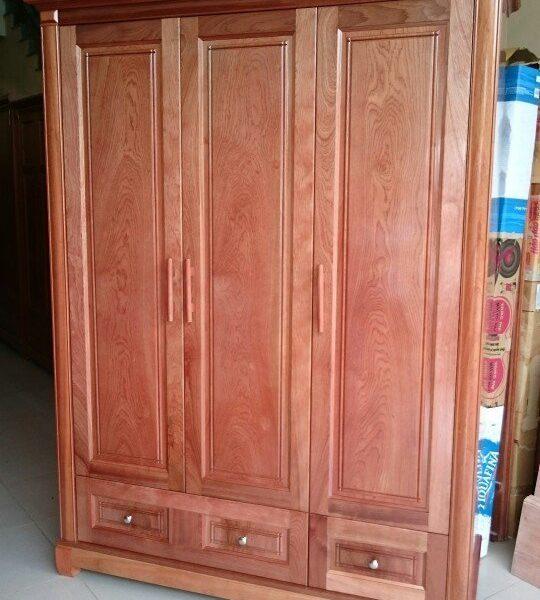 Mẫu tủ quần áo gỗ xoan đào 4 buồng
