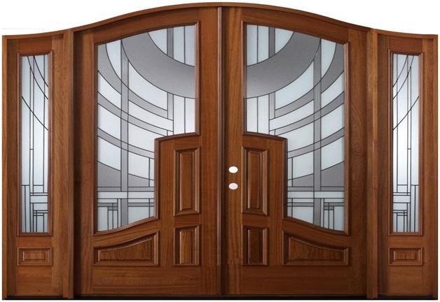 Mẫu cửa gỗ kính 2 cánh từ gỗ tự nhiên