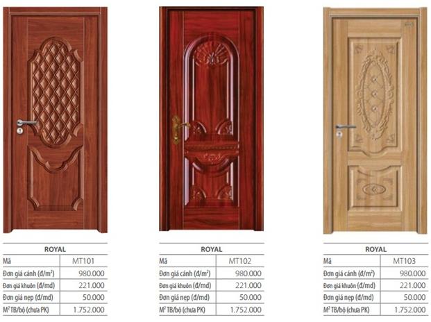 Mẫu hoạ tiết dập nổi được in trên cửa gỗ Royal