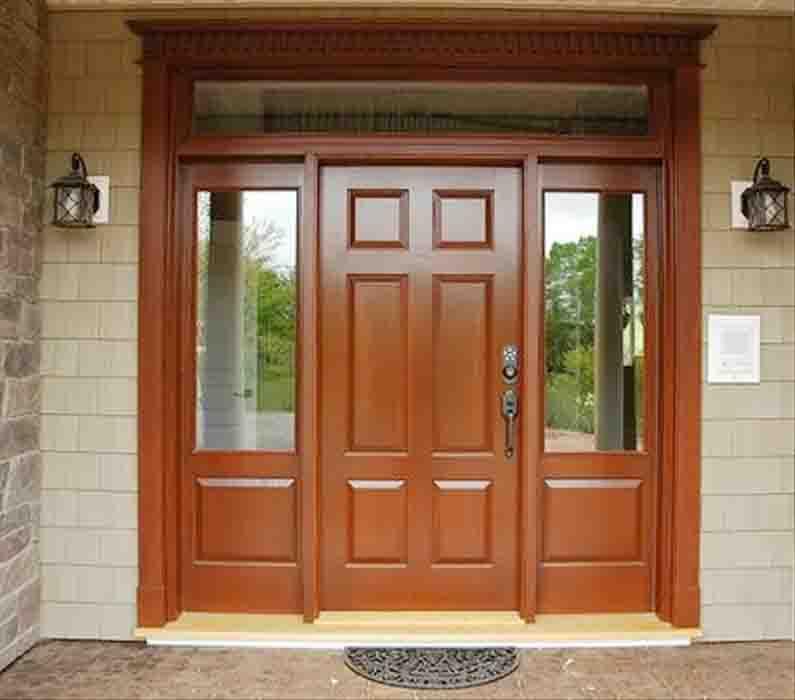 Mẫu cửa gỗ có pano kính đẹp