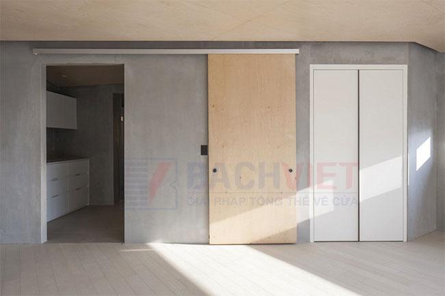 Mẫu cửa trượt treo ngăn phòng bếp và phòng khách