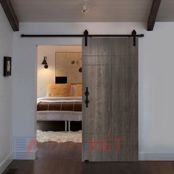 Cửa lùa gỗ kiểu nhật cho phòng ngủ đơn giản màu gỗ óc chó