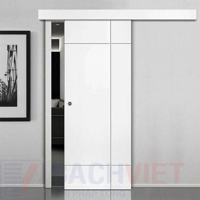 Mẫu cửa gỗ trượt kiểu nhật màu trắng hiện đại sang trọng