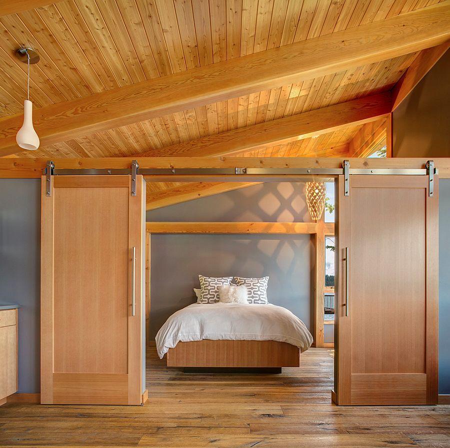 Mẫu cửa lùa gỗ tự nhiên cho phòng ngủ đẹp