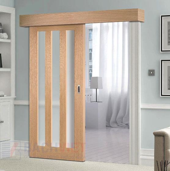 Mẫu cửa lùa gỗ phòng ngủ ray trượt trên có nẹp che