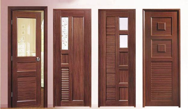 Cửa gỗ tự nhiên có pano kính khắc hình đa dạng