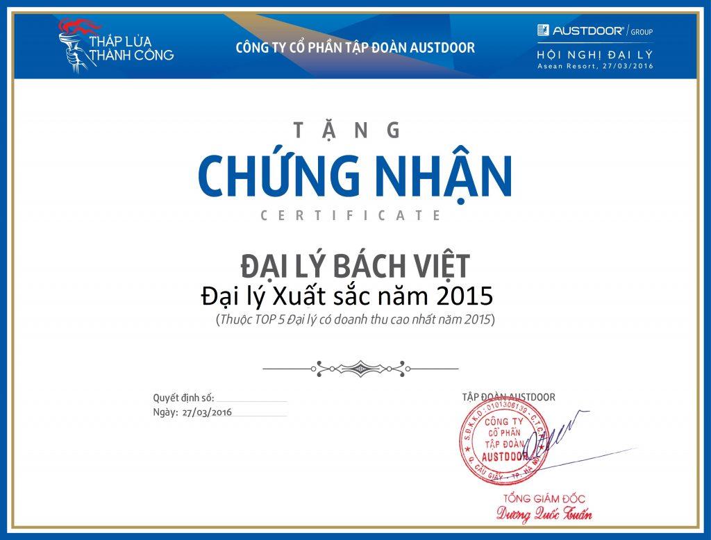 Chứng nhận Bách Việt là Đại lý xuất sắc